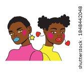 afro girls couple fashion pop...   Shutterstock .eps vector #1848442048