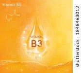 vitamin b3 shining golden... | Shutterstock .eps vector #1848463012