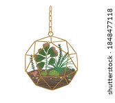 stylish hanging glass florarium ... | Shutterstock .eps vector #1848477118