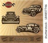 vintage garage retro banner. | Shutterstock .eps vector #184857746