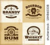 vintage alcohol labels set | Shutterstock . vector #184860338