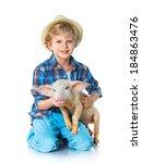 Little Farmer. Cute Boy With...
