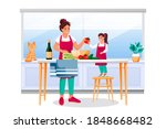 mother and daughter cooking... | Shutterstock .eps vector #1848668482