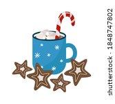 christmas mug with cocoa ... | Shutterstock .eps vector #1848747802