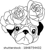 Pug With Flowers Vector...