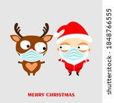 Cute Cartoon Santa Claus And...