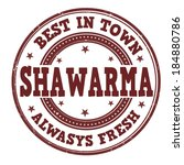 Shawarma grunge rubber stamp on white, vector illustration