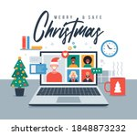 christmas online greeting.... | Shutterstock .eps vector #1848873232