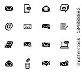 vector black  email icons set... | Shutterstock .eps vector #184888862