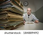 stressed office worker with a... | Shutterstock . vector #184889492