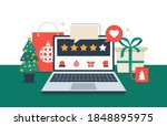 gift review online on laptop.... | Shutterstock .eps vector #1848895975