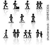 walking vector icons set .... | Shutterstock .eps vector #184892306