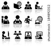working on computer vector... | Shutterstock .eps vector #184892312