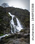 Waterfall in the lake district located around the robinson mountain peak