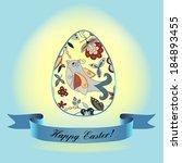 an easter egg with flower  bird ... | Shutterstock .eps vector #184893455