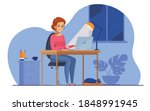 woman working at night in home... | Shutterstock .eps vector #1848991945