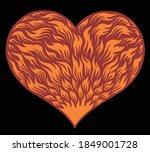 Flaming Heart. Hand Drawn...