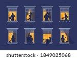 neighbors in windows. cartoon...   Shutterstock .eps vector #1849025068