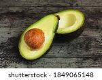 Avocado Split In Half On A...