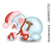 a big snowman hugs a small one... | Shutterstock . vector #1849091725