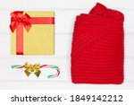 gift box  candy cane  folded... | Shutterstock . vector #1849142212