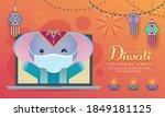 cartoon indian elephant having... | Shutterstock .eps vector #1849181125