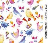 birds pattern color brush paper ... | Shutterstock . vector #184919162