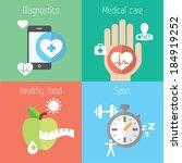 healthy lifestyle flat stylish... | Shutterstock .eps vector #184919252