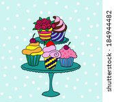 cupcakes on a stand | Shutterstock .eps vector #184944482