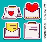 kawaii doodle cartoon letter... | Shutterstock .eps vector #1849453795