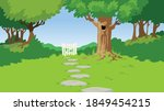 green lan and garden gate with... | Shutterstock .eps vector #1849454215