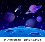cartoon space landscape. cosmic ...   Shutterstock .eps vector #1849483495
