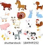 Stock vector farm animal collection set 184949252