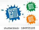 newspaper on color blob. vector ... | Shutterstock .eps vector #184955105