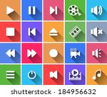 set of flat color buttons.... | Shutterstock .eps vector #184956632