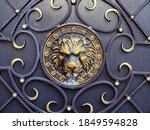 Gilded Lion Head With Forged...