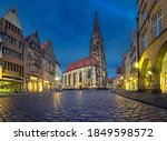 Small photo of Munster, Germany. View of St Lambert's Church at dusk (HDR image)