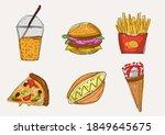 set of junk food doodle... | Shutterstock .eps vector #1849645675