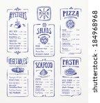 menu template. blue pen drawing.... | Shutterstock .eps vector #184968968
