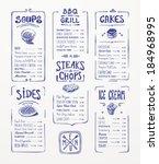 menu template. blue pen drawing.... | Shutterstock .eps vector #184968995
