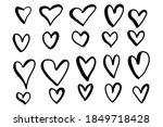 cute cartoon hand drawn hearts... | Shutterstock .eps vector #1849718428