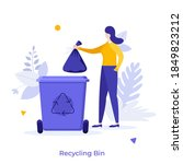 woman putting trash bag into... | Shutterstock .eps vector #1849823212