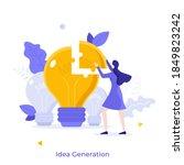 woman assembling lightbulb... | Shutterstock .eps vector #1849823242