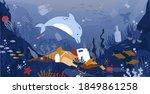 sea garbage. marine animals... | Shutterstock .eps vector #1849861258