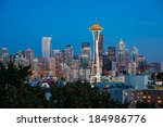 dusk over the seattle skyline ... | Shutterstock . vector #184986776