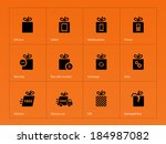 presents box icons on orange...