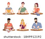 set of people eating different... | Shutterstock .eps vector #1849912192