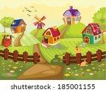 illustration of the lovely farm ... | Shutterstock .eps vector #185001155