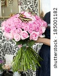 bouquet of pink roses with live ... | Shutterstock . vector #185001182