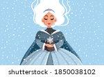 snow queen holding snowflake in ... | Shutterstock .eps vector #1850038102